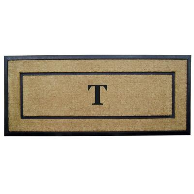 DirtBuster Single Picture Frame Black 24 in. x 57 in. Coir with Rubber Border Monogrammed T Door Mat