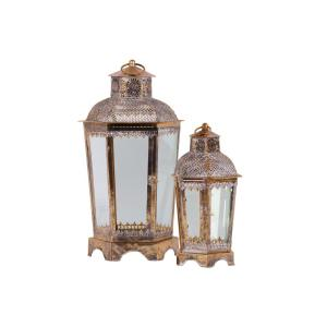 Exceptional Gold Candle Metal Decorative Lantern