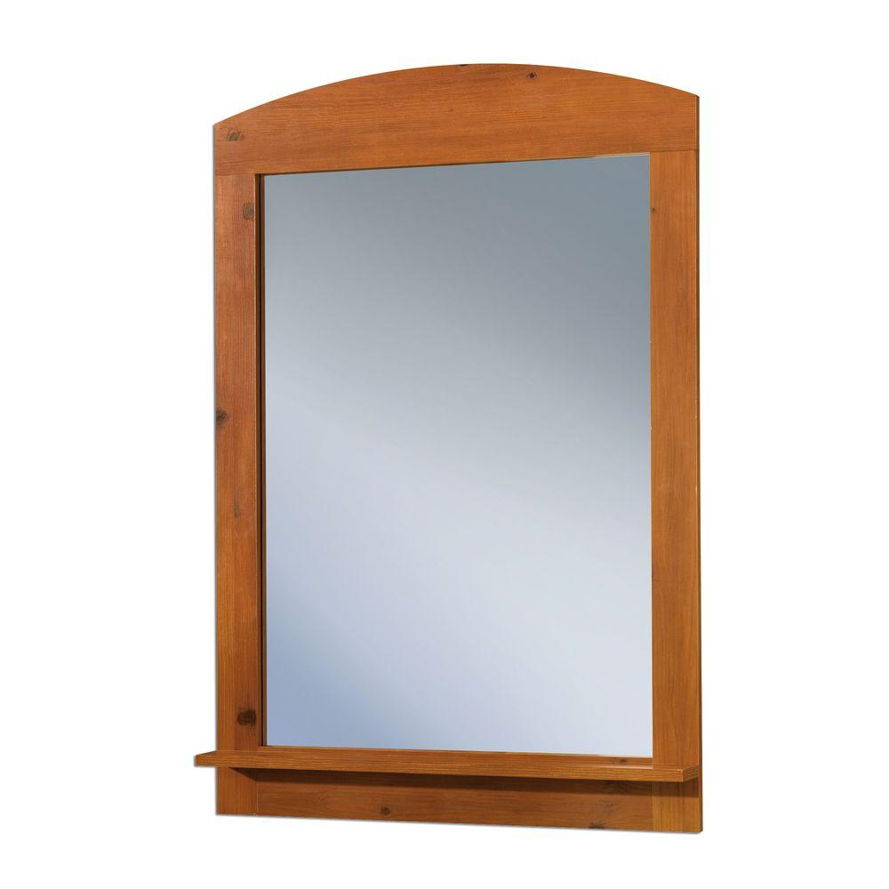 South Shore 41 in. x 28 in. Clever Sunny Pine Framed Mirror
