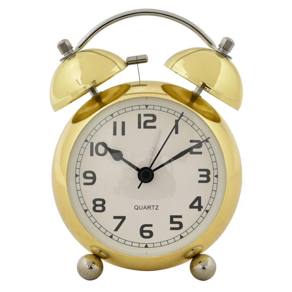 Gold Metal Alarm Clock 29187   The Home Depot