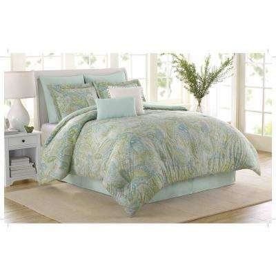 Soho New York Sea Glass 8-Piece Blue Queen Comforter Set