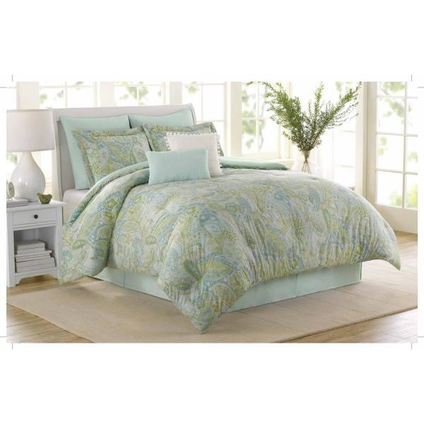 Soho 8 Piece Blue, Green Queen Comforter Set by Royal Heritage Home