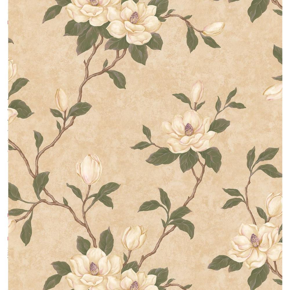 Brewster kitchen bath bed resource iii beige magnolia for Beige kitchen wallpaper