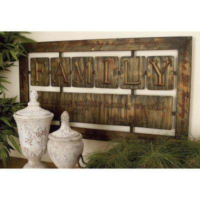 21 in. x 38 in. New Traditional Iron Tile Family Horizontal Wall Plaque in Bronze Finish