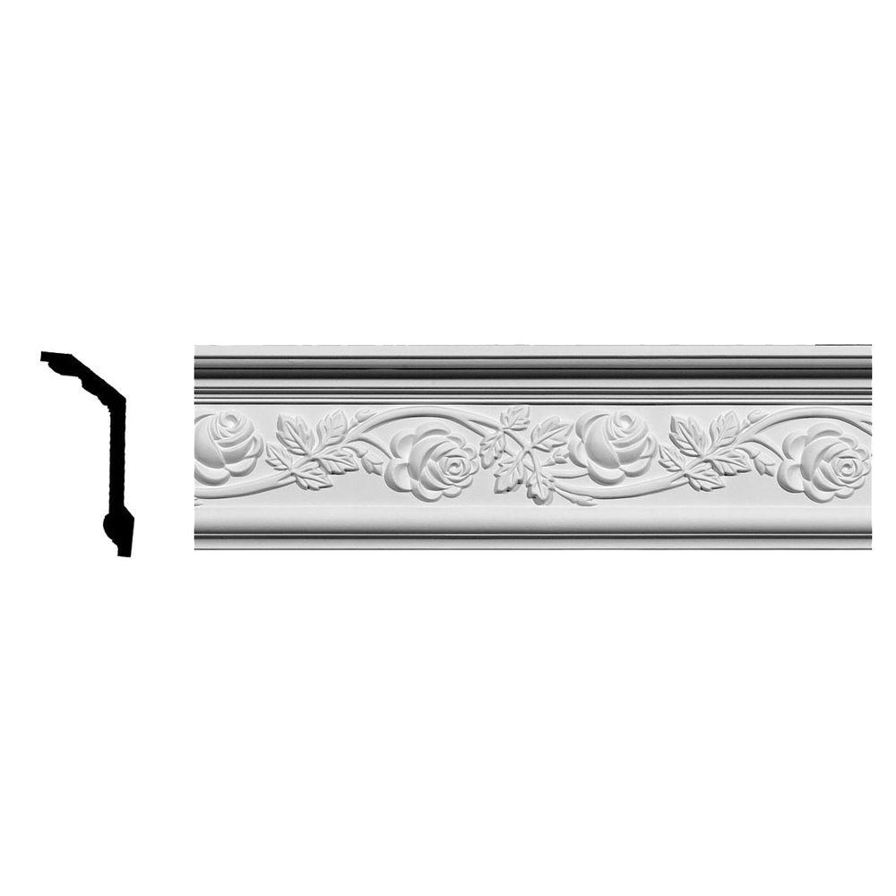 Ekena Millwork 3-3/4 in. x 5-1/2 in. x 94-1/2 in. Polyurethane Rose Crown Moulding