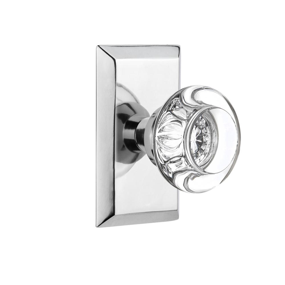 Studio Plate Single Dummy Round Clear Crystal Glass Door Knob in Bright Chrome