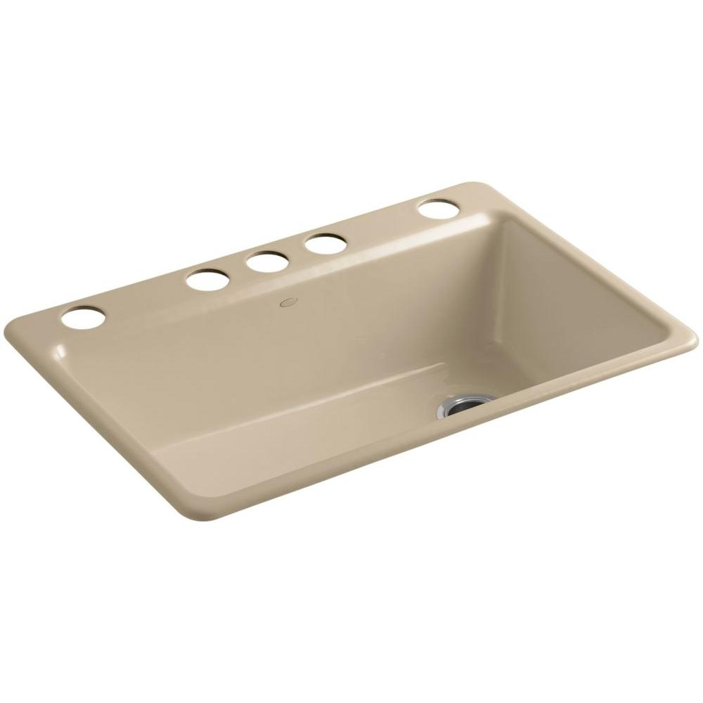 KOHLER Riverby Undermount Cast-Iron 33 in. 5-Hole Single Bowl Kitchen Sink Kit with Accessories in Mexican Sand
