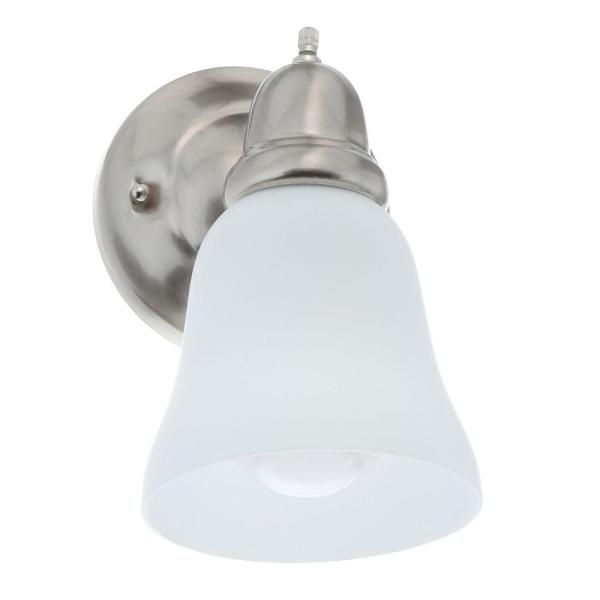 1-Light Satin Nickel Sconce with Frosted Opal Glass Shade