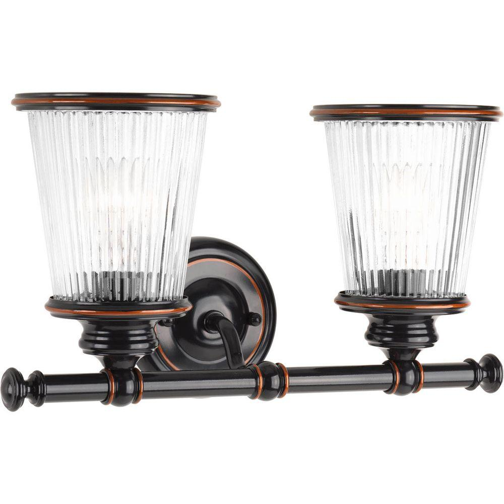 Radiance Collection 2-Light Rubbed Bronze Vanity Light with Clear Ribbed Glass