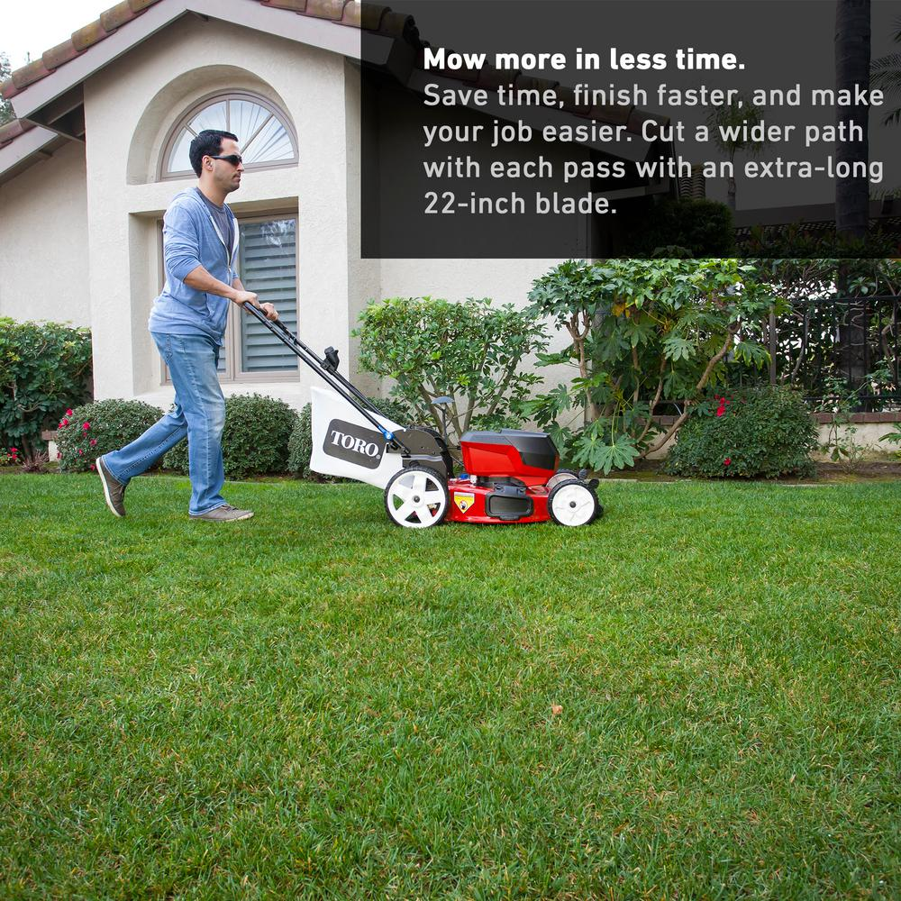Toro 22 In Recycler 60 Volt Lithium Ion Cordless Battery Walk Behind Push Lawn Mower 6 0 Ah Charger Included