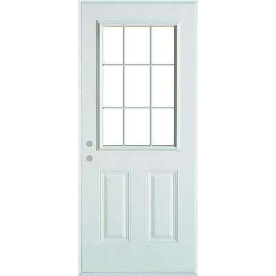 32 in. x 80 in. Colonial 9 Lite 2-Panel Painted White Steel Prehung Front Door with Internal Grille and Brickmold