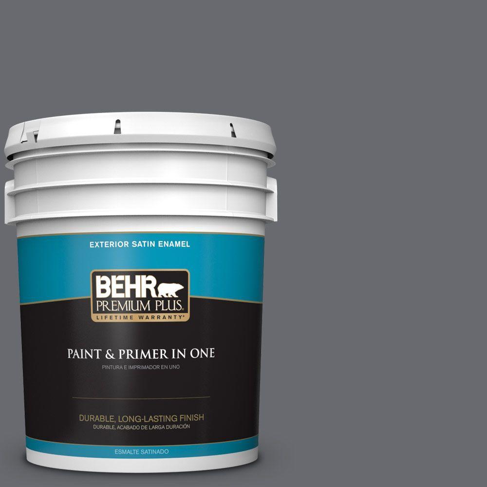 5 gal. #T16-15 Charcoal Plum Satin Enamel Exterior Paint