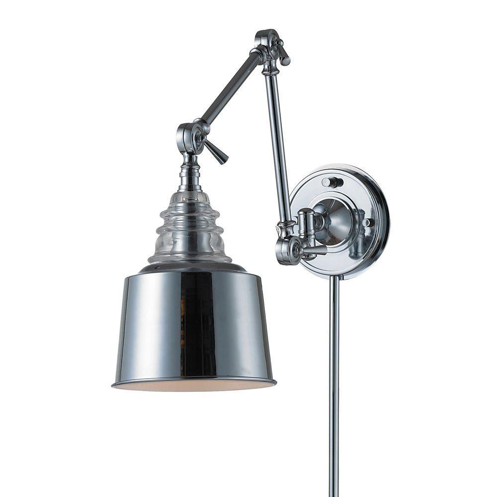 Titan Lighting Insulator Glass  1-Light Wall Mount Polished Chrome Swing Arm Sconce