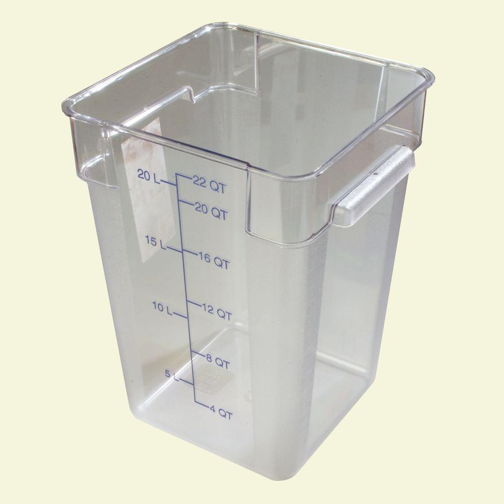22 qt. Polycarbonate Square Food Storage Container in Clear, Lid not