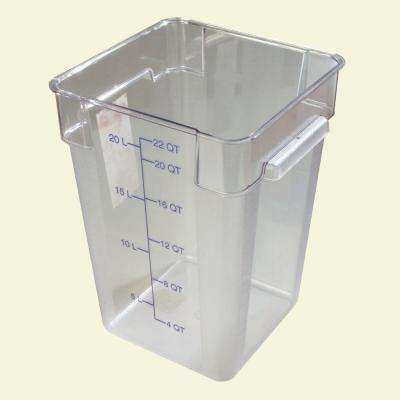 22 qt. Polycarbonate Square Food Storage Container in Clear, Lid not Included (Case of 6)