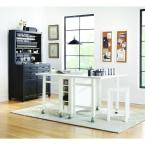 Martha Stewart Living Craft Space Picket Fence White Wooden Collapsible Craft Table with Wheels (60 in. W)
