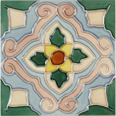 Hand-Painted Ceramic Flor 6 in. x 6 in. x 6.35 mm Glazed Ceramic Wall Tile (2.5 sq. ft. / case)