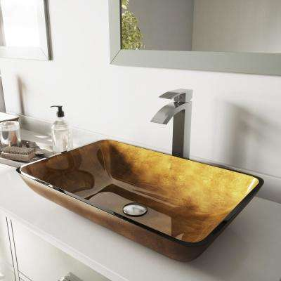 Glass Vessel Bathroom Sink in Copper and Duris Faucet Set in Brushed Nickel