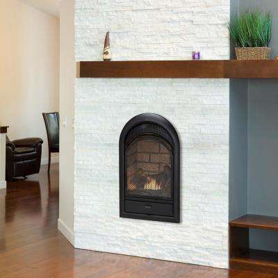 16 in. Ventless Dual Fuel Fireplace Insert with Brick Liner and Thermostat