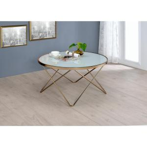 Charmant Internet #301170258. ACME Furniture Valora Frosted Glass And Champagne Coffee  Table
