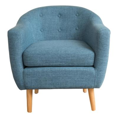 Naveen Button Back Muted Blue Fabric Club Chair