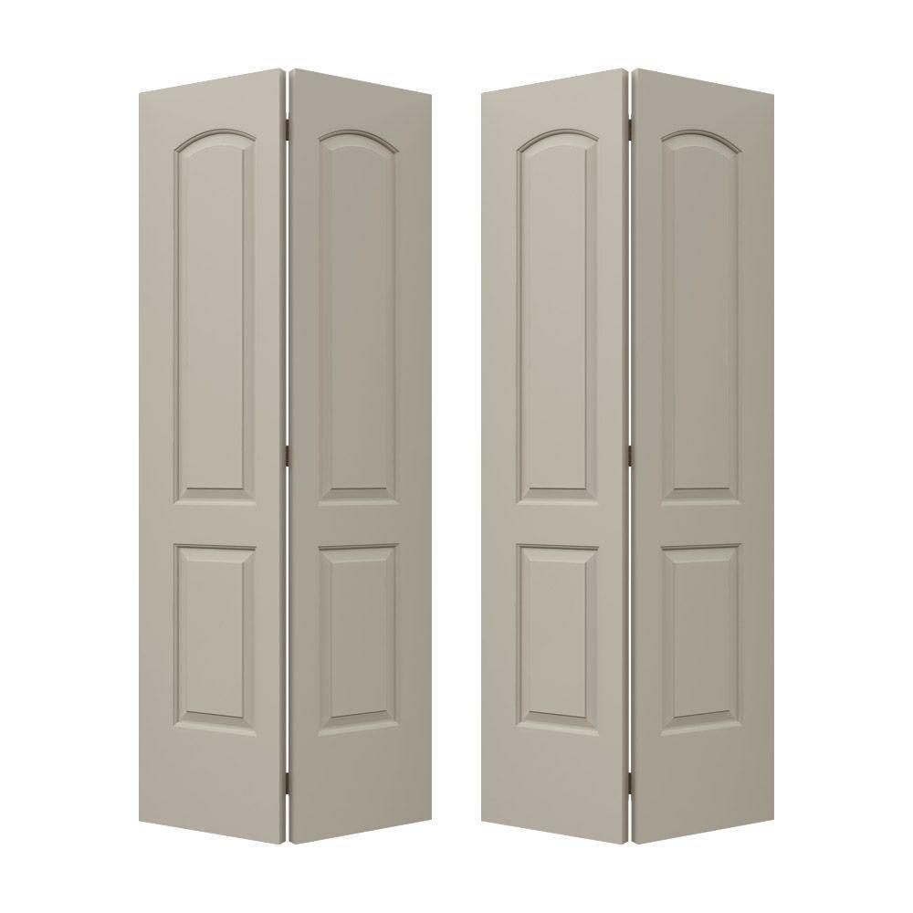 Smooth 2-Panel Arch Top Hollow Core Composite Molded Interior Closet Bi-fold Door