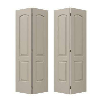 36 in. x 80 in. Continental Desert Sand Painted Smooth Molded Composite MDF Closet Bi-fold  Double Door