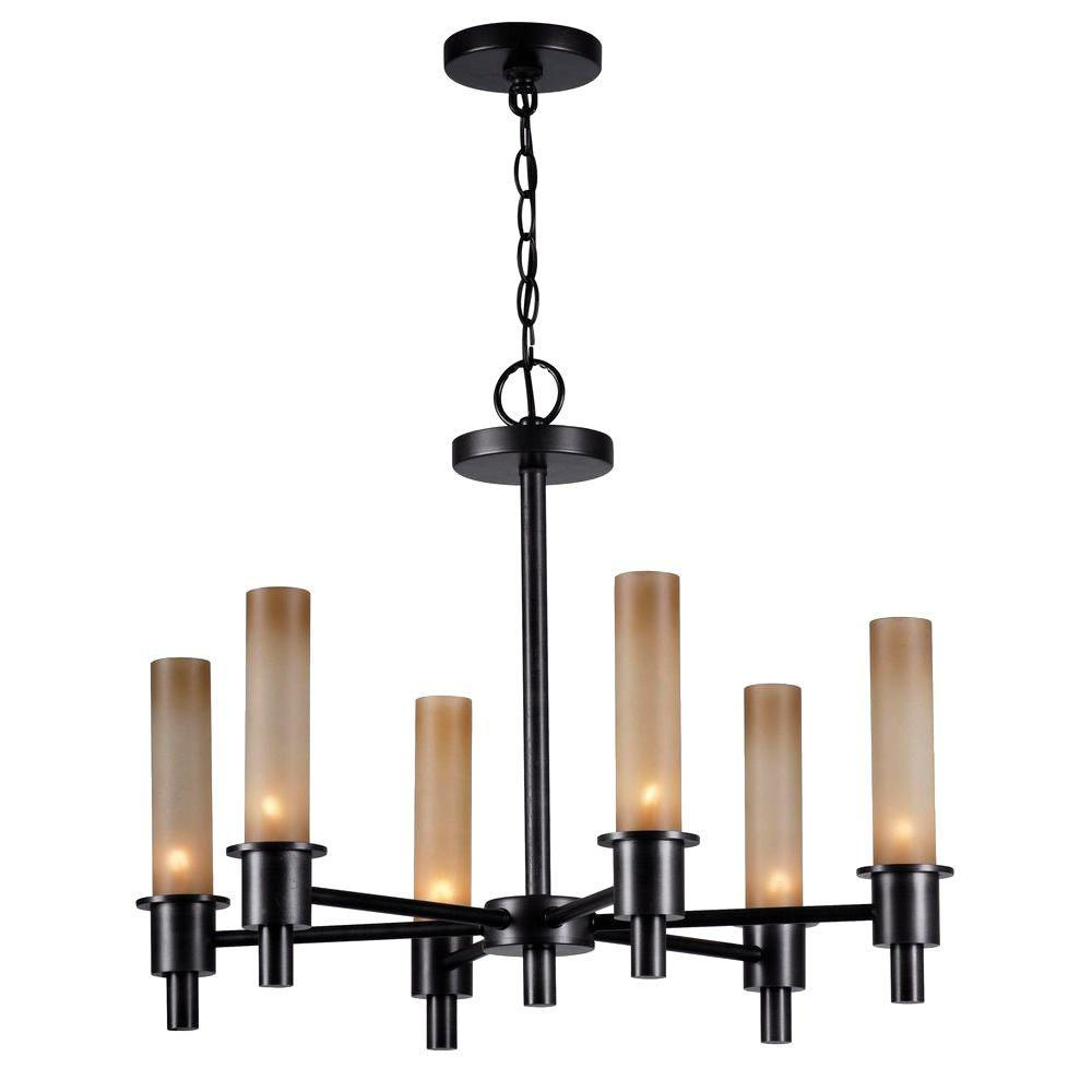 World Imports Dunwoody 6 Light Oil Rubbed Bronze Chandelier With Tea Stained Gl Shades