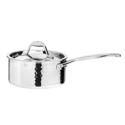 STERN 2.1 Qt. Hammered Stainless Steel Tri-Ply Saucepan with Lid