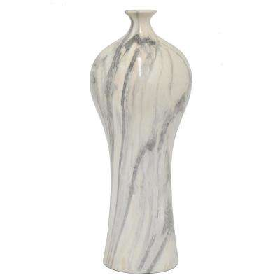 White Marble Look Ceramic Decorative Vase