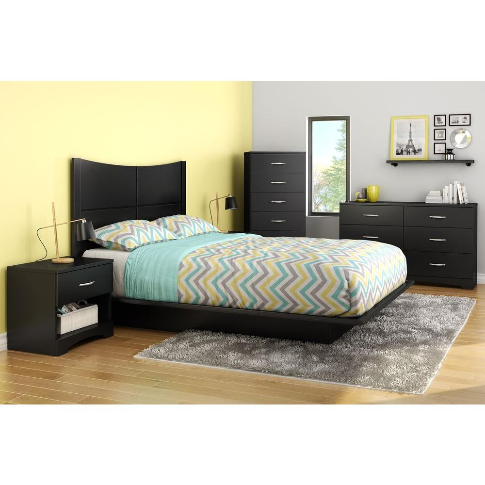 South Shore Step One 1-Drawer Nightstand in Pure Black