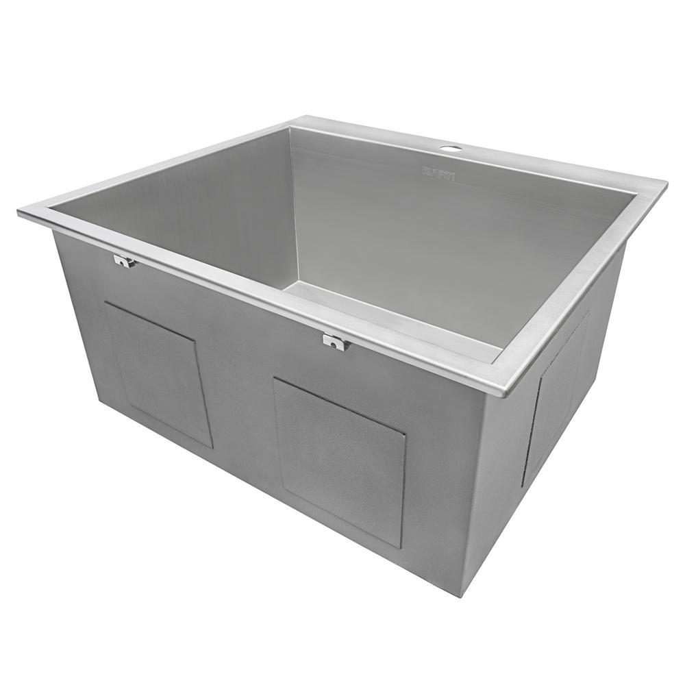Ruvati 25 In X 22 In X 12 In Deep Drop In Top Mount Single Bowl 16 Gauge Stainless Steel Laundry Utility Sink Rvu6010 The Home Depot