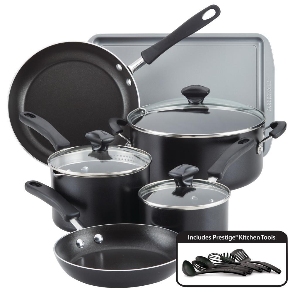 Cookstart 15-Piece Aluminum Nonstick Cookware Set in Black
