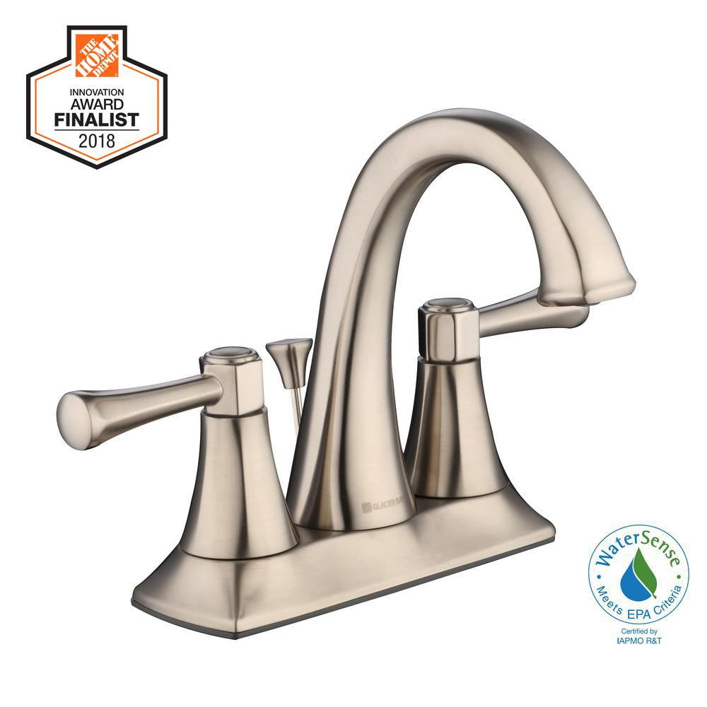Glacier Bay Stillmore 4 in. Centerset 2-Handle High-Arc Bathroom Faucet in Brushed Nickel