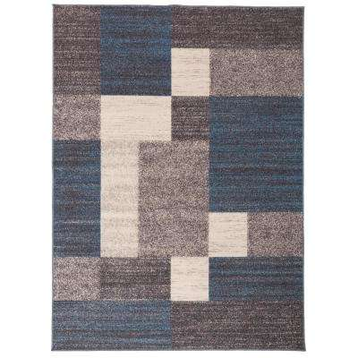 Geometric Boxes Design Non-Slip (Non-Skid) Blue 7 ft. 10 in. x 10 ft. Indoor Area Rug
