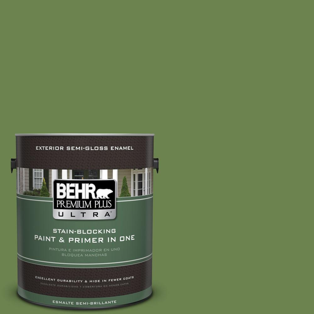 BEHR Premium Plus Ultra 1-gal. #430D-6 Happy Camper Semi-Gloss Enamel Exterior Paint