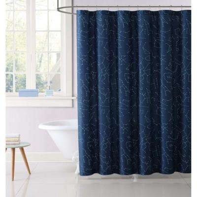 Moon Printed 72 in. Midnight Blue Shower Curtain