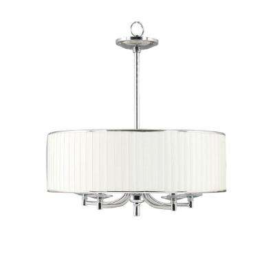 Anya 5-Light Chrome Pendant with Pleated Cream Fabric Shade