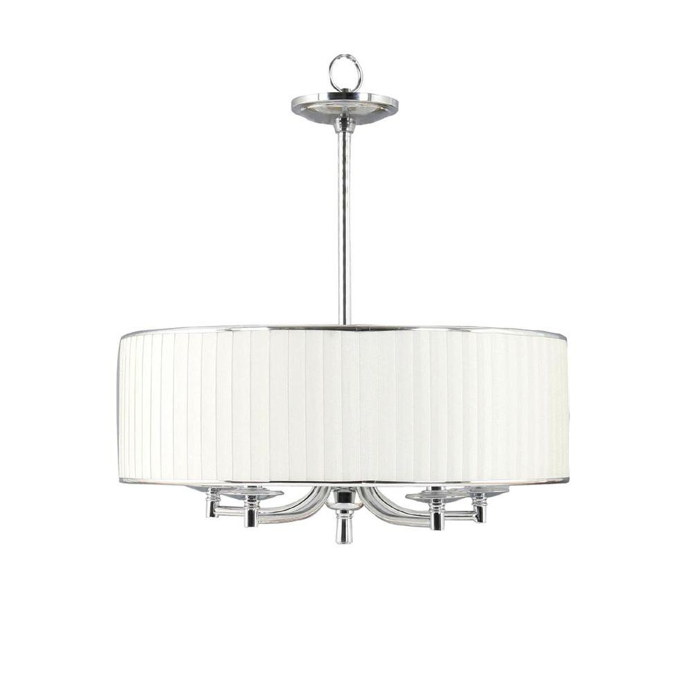 Home Decorators Collection Anya 5 Light Chrome Pendant With Pleated Cream Fabric Shade