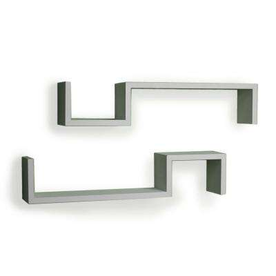 """22.5 in. x 5 in. White Laminated """"S"""" Wall Mount Shelves (Set of 2)"""