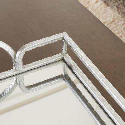 Silver Hammered Metal Decorative Rectangle Mirror Tray