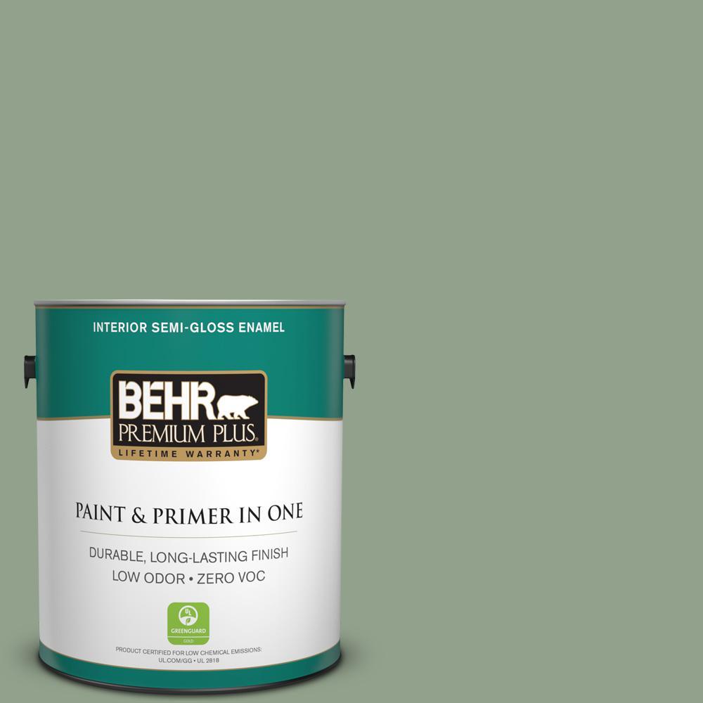 1-gal. #440F-4 Athenian Green Zero VOC Semi-Gloss Enamel Interior Paint