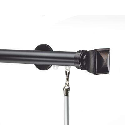 Tekno 25 - 132 in. Non-Adjustable 1-1/8 in. Single Traverse Window Curtain Rod Set in Black with Bling Finial