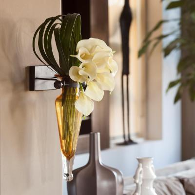 13 in. Glass Wall Mount Decorative Amphora Vase on Iron Sconce with Finials in Amber Glass