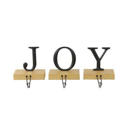 6 in. Metal and Wood Joy Weighted Christmas Stocking Holder (Set of 3)