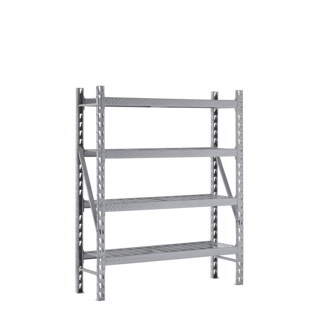 72 in. H x 60 in. W x 18 in. D 4-Shelves Steel Treadplate Commercial Shelving Unit in Silver