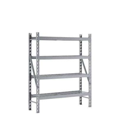 72 in. H x 60 in. W x 18 in. D 4-Shelves Steel Treadplate Commercial Shelving Unit in Silver