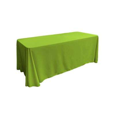 90 in. x 156 in. Lime Polyester Poplin Rectangular Tablecloth