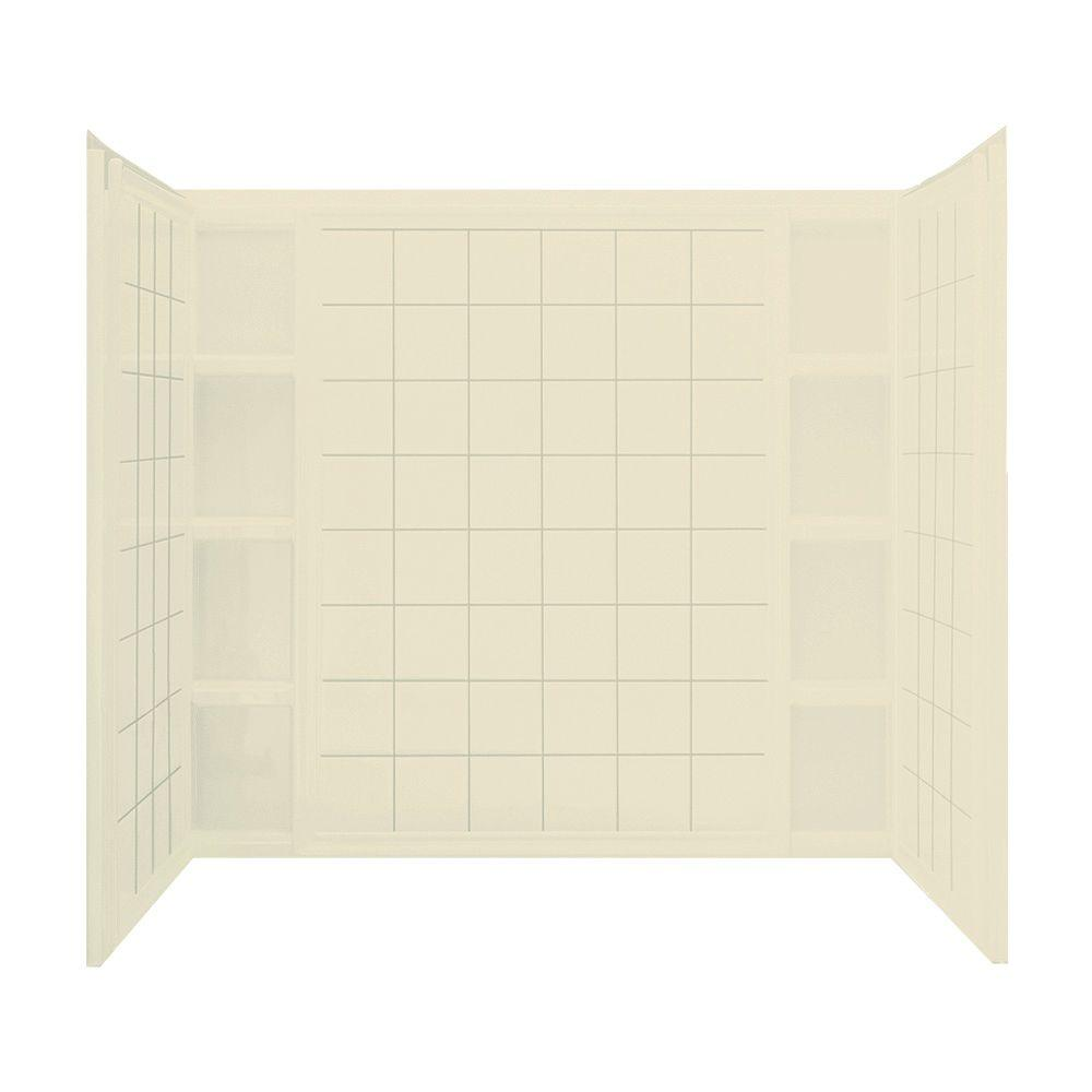 STERLING Ensemble 43-1/2 in. x 60 in. x 54-1/4 in. Three Piece Direct-to-Stud Tub and Shower Wall with Backer in Almond