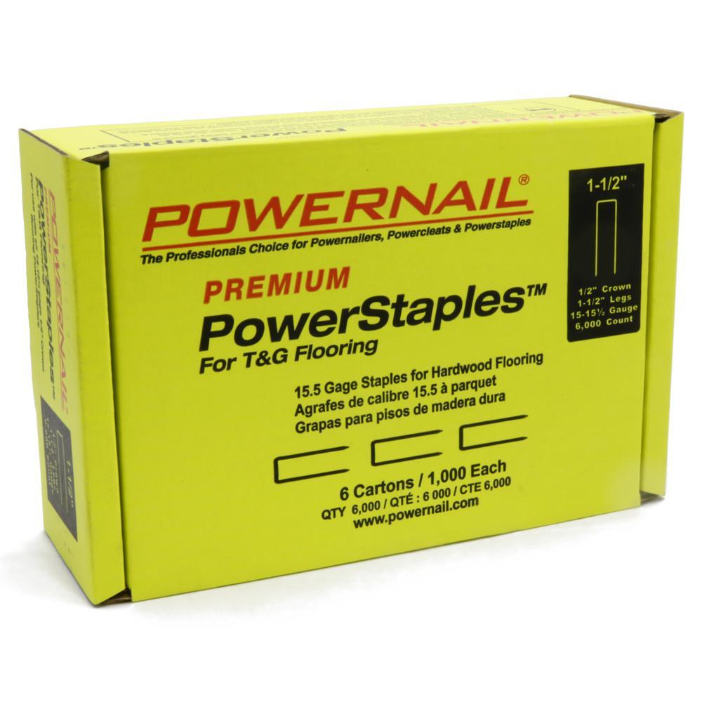 1-1/2 in. 15-1/2-Gauge Hardwood Flooring PowerStaples (6-Pack 1,000-Count)